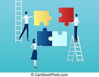 vektor, o, business národ, kompletování archů, jeden, puzzle.