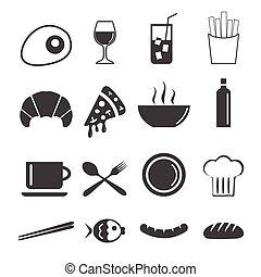vektor, o, food ikona
