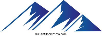 vektor, o, hory, emblém, grafické pozadí