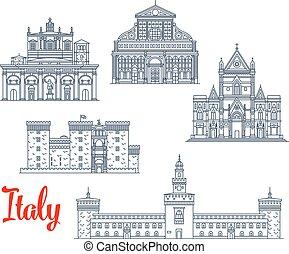 vektor, olaszország, historic épület, ikonok, építészet