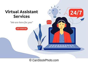 vektor, online, assistent, design., virtuell, dienstleistungen, wohnung, abbildung, begriff, modern