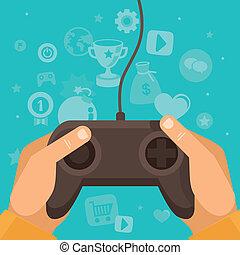 vektor, online, spiel, begriff
