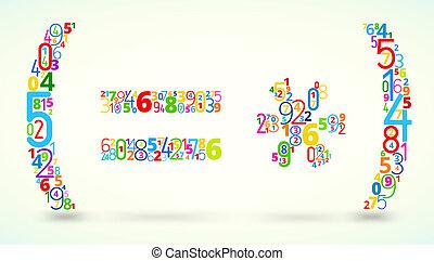 vektor, operands, mathe, gefärbt, schriftart, zahlen