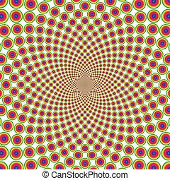 vektor, optický, grafické pozadí, kroužek, iluze, (eps)