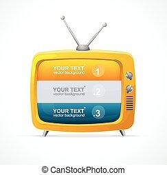 vektor, option, fernsehapparat, 123, leer, orange, banner
