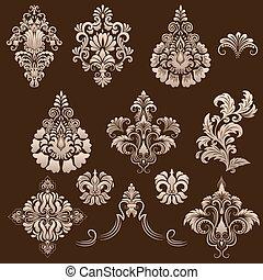 vektor, ornamental, sätta, elements., damast