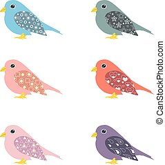 vektor, ornamental, sæt, fugle, farverig