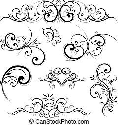vektor, ornamentere, scroll