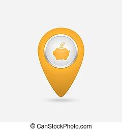 vektor, ort, gelber , ikone, mit, geld, zeichen, spaardose