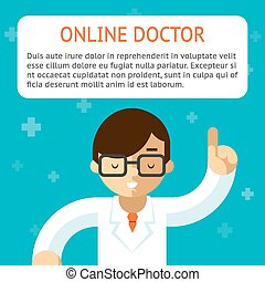vektor, orvos, ábra, online