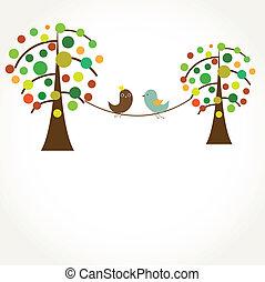 vektor, paar, love., vögel, abbildung