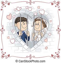 vektor, paar, verheiratet, gefã¤ngnis, gerecht