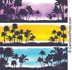vektor, palmen, abbildung