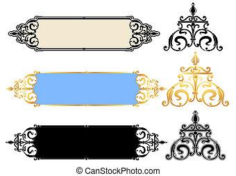 vektor, paneler, design, krusiduller