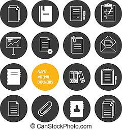 vektor, papier, notizblock, dokumente, ikone