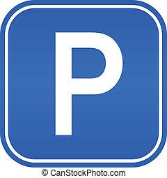 vektor, parkering signera
