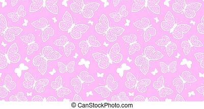 vektor, pastell, rosa, vlinders, wiederholung, seamless,...