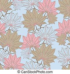 vektor, pattern), (seamless, leaves., abbildung