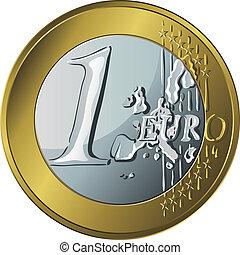 vektor, pengar, guldmynt, euro en