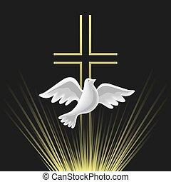vektor, pentecost, jámbor, vasárnap, lélek, ikon