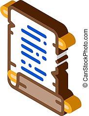 vektor, pergament, rulla, isometric, illustration, papper, ...