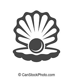 vektor, perle, icon., schale, schwarz