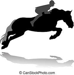 vektor, pferd, jockey, springende