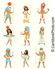 vektor, pharaohs., bakgrund., vit, illustration, sätta
