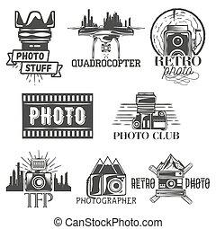 vektor, photographie, thema, satz, in, weinlese, style., monochrom, logo, banner, abzeichen, oder, embleme, für, foto, studio., freigestellt, abbildung