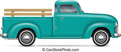 vektor, pickupen, klassisk, lastbil, illustration