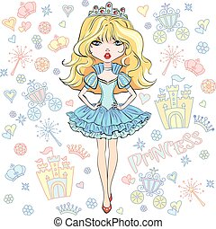 vektor, pige, smukke, mode, prinsesse