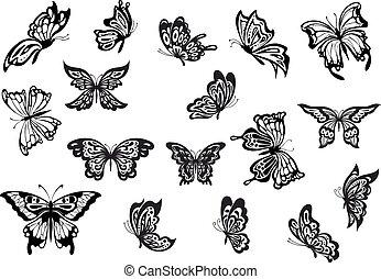 vektor, pillangók, állhatatos, fekete, fehér