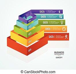 vektor, piramis, diagram, helyett, infographics, tervezés