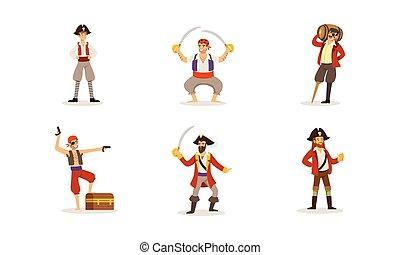 vektor, pirat, verschieden, situationen, charaktere, illustrationen, posierend