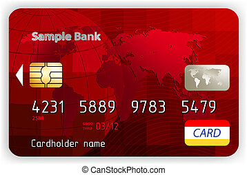 vektor, piros, hitel kártya, elülső, nézet., eps, 8