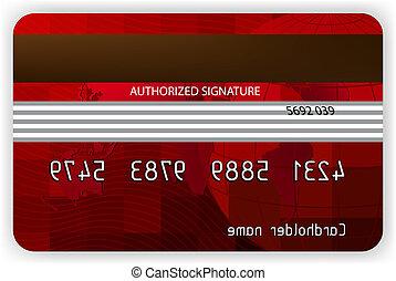 vektor, piros, hitel kártya, hát, nézet., eps, 8