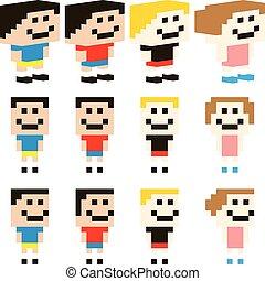 vektor, pixel, kunst, kinder, zeichen