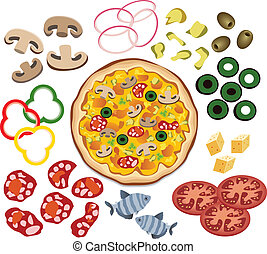 vektor, pizza, og, ingredienser, by, din, konstruktion