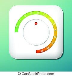vektor, plastik, volumen, button., grün, zu, orange, scale., steuerung, knob., einstellung, icon.