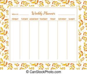 vektor, plats, bladen, illustration, mall, schema, planläggare, noteringen, organisatör, höst, varje vecka