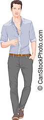 vektor, pocket., mann, hand