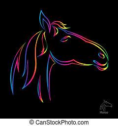vektor, podoba, o, kůň