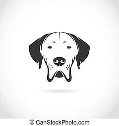 vektor, podoba, o, pes, hlavička