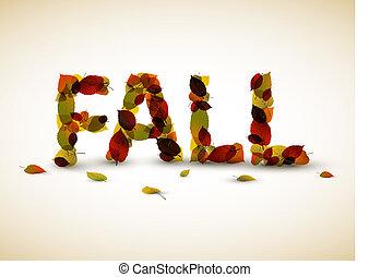 vektor, podzim, nápis, ilustrace
