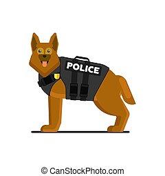 vektor, polizeihund, abbildung, uniform