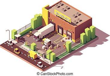vektor, poly, raktárépület, épület, alacsony, isometric