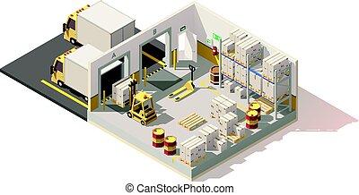 vektor, poly, raktárépület, alacsony, isometric