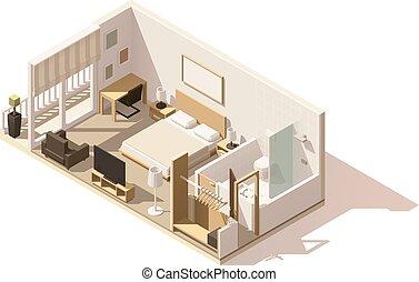 vektor, poly, szálloda szoba, alacsony, isometric, ikon