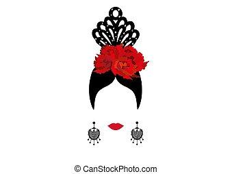 vektor, porträt, von, traditionelle , latein, oder, spanischer , frau, tänzer, dame, mit, traditionelle , accessoirs, peineta, ohrringe, und, rote blume, flamenco, ikone, freigestellt