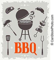 vektor, poster., barbecue, illustration